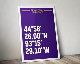 TCF Bank Stadium Coordinate Print for Man Cave - Minnesota Vikings - Fan Art Poster Typographic Print