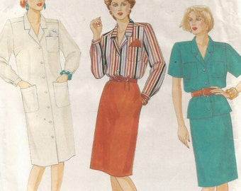2718 McCalls Sewing Pattern Dress Shirt Skirt Size 6 Vintage 1980s
