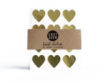 144 Gold Heart Stickers / FREE SHIPPING