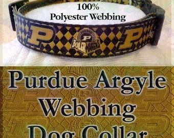 Purdue University Boilermakers Polyester Webbing Argyle Designer Novelty Dog Collar