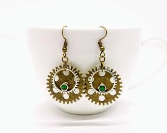 Steampunk Earrings Cog Gear Jewellery Green Bronze Accessories
