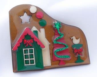 Vintage Christmas Lucinda House Pin Holiday Brooch