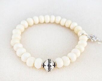 Bone Mala Bracelet, Stacking, White, Cream, Ohm Charm, Silver Bead, Stretch, Yoga, Zen, Meditation, Handmade, Gift for Her, Gift for Woman