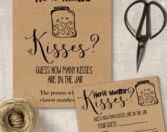 How Many Kisses game, printable bridal shower game, rustic couples shower cards, party games, G101