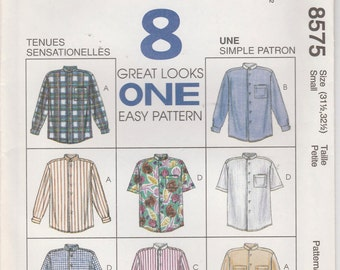 Easy Shirt Pattern Button 8 Variations Men Size Small Chest 31 - 32  McCalls 8575