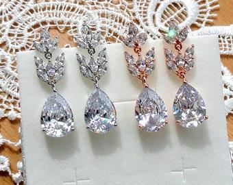 Bridal Earrings Crystal Wedding Earrings Bridal Jewelry Drop Dangle Earrings Silver Teardrop Earrings Bohemian Jewelry Chandelier Earrings