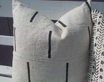 """16"""" to 24"""" Authentic  African Mud cloth pillow cover  white with black  bands"""
