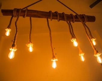 Lampe à incandescence de rondin de bois