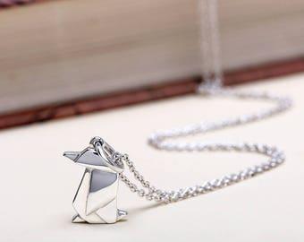 Geometric penguin necklace origami penguin necklace silver cute origami penguin necklace sterling silver penguin charm necklace origami penguin pendant animal jewelry mozeypictures Images