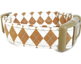 Argyle Dog Collar - Butterscotch Argyle