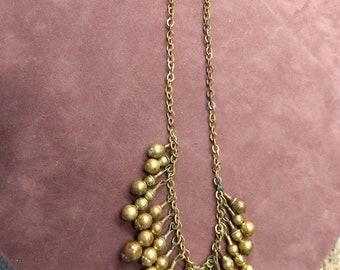 Vintage Antique Brass Ball Fringe Necklace Cha Cha Style 1920's Flapper Era #C289