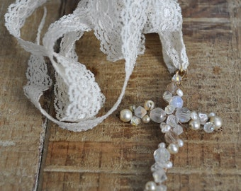 Rosary cross beads Christian religion necklace white lace