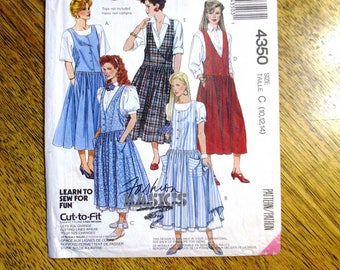 VINTAGE 1980s Dropped Waist Baby Doll Dress / BOHO Jumper & Petticoat - Size (10 - 12 - 14) - UNCUT Vintage Sewing Pattern McCalls 4350