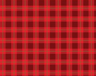 Red Rooster - Cozy Cabin Christmas - 26601-RED1 - Plaid - Sandy Lynam Clough - Red - One More Yard - Winter - Metallic - Silver - Holiday