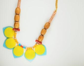 Yellow necklace, Sky blue necklace, Statement Necklace, Unique jewelry, Oversize necklace, Boho necklace, Summer necklace, Colorful necklace