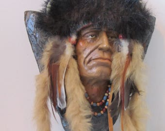 Native American Indian Head & SAhoulders on wall plaque