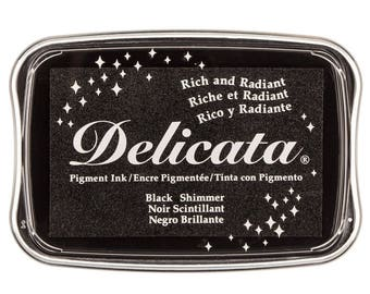 Delicata Black Shimmer Pigment Ink Pad Rubber Stamping Supplies & Paper Crafts