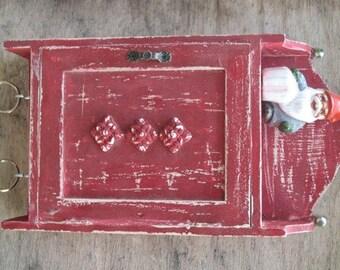 KEY BOX, KEY Cabinet, key organizer, Wall Hanging Keys Hanger - Red Shabby Chic Key Holder