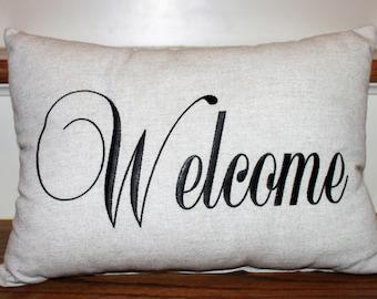 Welcome Pillow, Embroidered Pillow, Foyer Pillow, Entrance Pillow, Entrance Decor, Foyer Decor, Decorative Pillow, Interior Pillow, Pillows