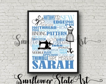 Personalized Sewing Poster, Sewing Typography, Gift for Seamstress, Gift for Tailor, Seamstress Gift, Sewing Pattern Gift, Gift for Sewer