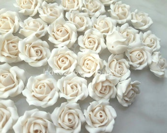 10 pcs. White Ivory Roses Flowers, polymer clay flower beads