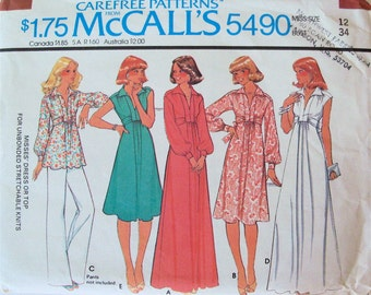 Vintage 1977 Women's Dress or Shirt Pattern McCall's 5490 Size 12