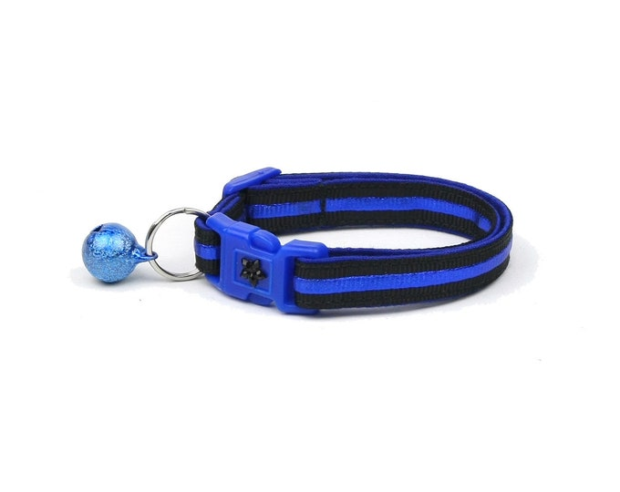 Police Collar - Thin Blue Line - Kitten or Large Size - Breakaway Cat Collar