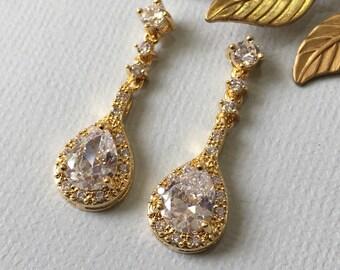 Golden Wedding Drop Dangle Earrings