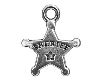 12 TierraCast Sheriff Badge 11/16 inch ( 18 mm ) Silver-Plated Pewter Drop Charm