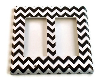 Double Rocker Light Switch Cover Wall Decor Switchplate Switch Plate in  Black Chevron  (150DR)