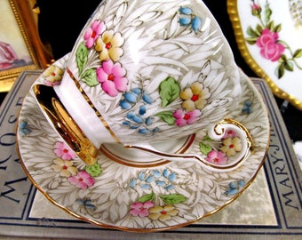 Royal Grafton Tea Cup and Saucer Painted Floral Chintz
