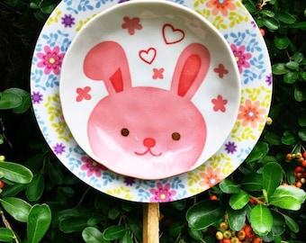 Easter Bunny Love • Rabbit • Yard Animal Art Vintage Repurposed Spring Bunny Glass Garden Art Flower
