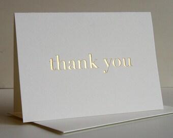 Thank You Card - Plain Thanks Gold - Gold Foil