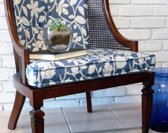Quick View. Cane Back Hollywood Regency Barrel Chair Blue Floral Upholstery