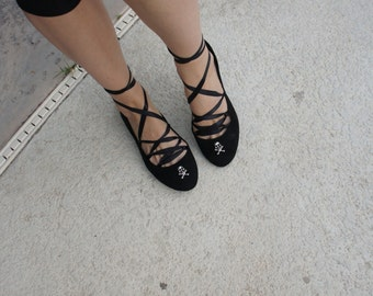 Olivia Paige -  Crossbone Sugar skull Flats  skeleton shoes flats with lace-up all sizes