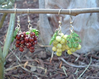 Sacred grapes cluster grapes earrings in tagua pearls by Allie/purple/cabernet/multicolor/green