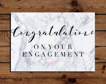 Congratulations On Your Engagement Marble A5 Greetings Card
