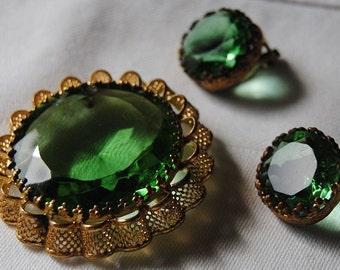 Costume Emerald Green Earrings and Pin