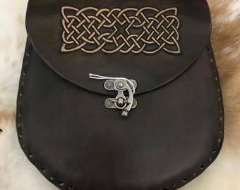 Celtic Knotwork Leather Sporran