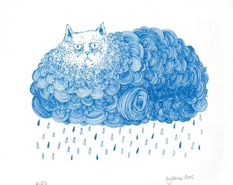 Grumpy Rainy Cat Cloud in blue screen print
