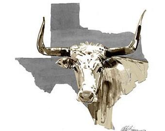 Texas Longhorn Watercolor Artwork