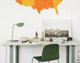 Large Vinyl wall USA map decal in Time Zones - United States wall sticker - M006