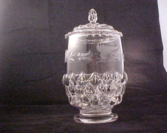 1890s Covered Cracker or Biscuit Jar w/ Leaf Engraving, Antique Teardrop EAPG Early American Pattern Glass, Footed Victorian Era Glassware