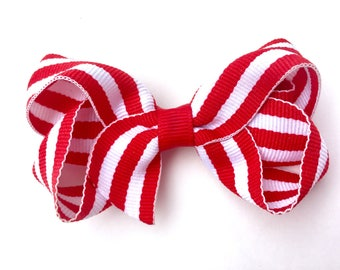 Red & white striped hair bow - hair bows, bows, hair bows for girls, baby bows, toddler bows, girls bows, pigtail bows, hairbows, boutique