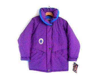 Vintage 80s 90s Ski Jacket Purple Swifty Winter High Collar Coat Women's Large