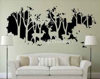 Deer In Woods Wall Decal, Large Wall Decal, Deer Wall Mural, Wall Mural