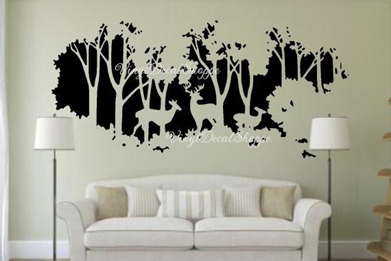 Deer In Woods Wall Decal Large Wall Decal Deer Wall Mural
