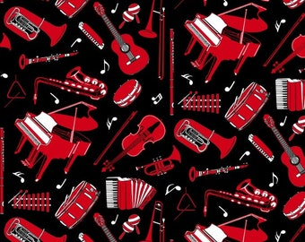Musicality Black Red Instruments Blank Quilting Fabric