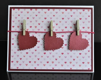 3D Red Hanging Hearts Handmade Greeting Card-I love You, Happy Mother's Day, Anniversary, Birthday, Valentine's Card with Cloths Pins