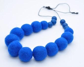 Felted Necklace Felted Wool Necklace Felted Jewelry Wool jewelry Girl Women Accessory  Blue necklace Blue Felted Ball Necklace